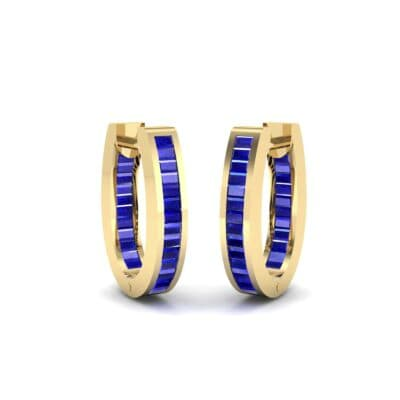 Huggie Channel-Set Blue Sapphire Earrings (1.02 Carat)