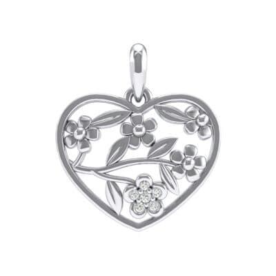 Floral Heart Crystals Pendant (0.06 Carat)