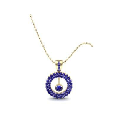 Pave Floating Pendulum Blue Sapphire Pendant (1.84 Carat)