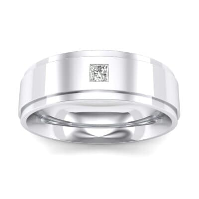 Stepped Edge Single Princess-Cut Crystals Ring