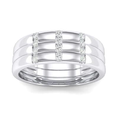 Triple Vertical Channel Crystals Ring