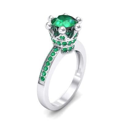 Six-Prong Coronet Emerald Engagement Ring (0.78 CTW)