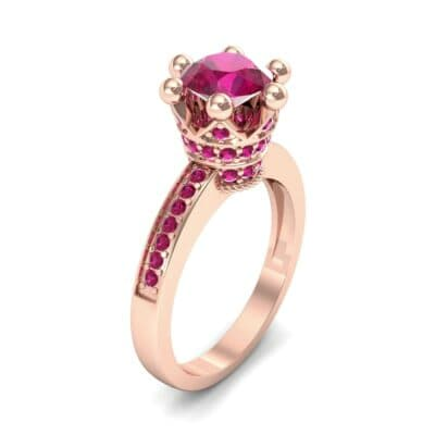 Six-Prong Coronet Ruby Engagement Ring (0.78 CTW) Perspective View