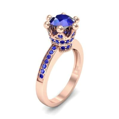 Six-Prong Coronet Blue Sapphire Engagement Ring (0.78 CTW)