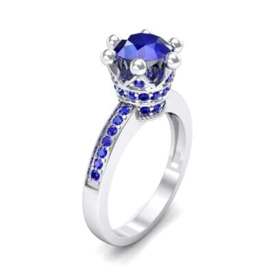 Six-Prong Coronet Blue Sapphire Engagement Ring (0.78 CTW)