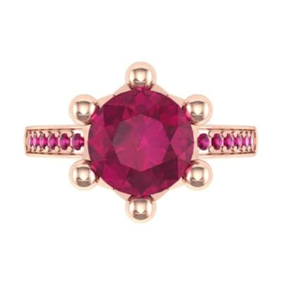 Six-Prong Coronet Ruby Engagement Ring (0.78 CTW) Top Flat View