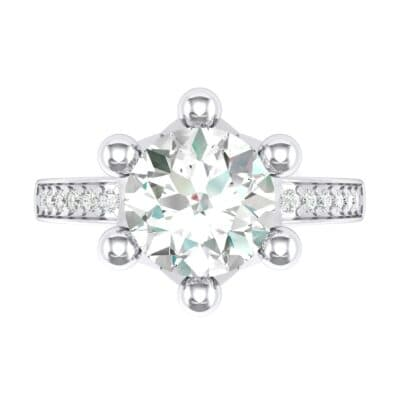 Six-Prong Coronet Crystal Engagement Ring (0.78 CTW) Top Flat View