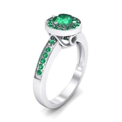 Surprise Heart Halo Emerald Engagement Ring (0.76 CTW)