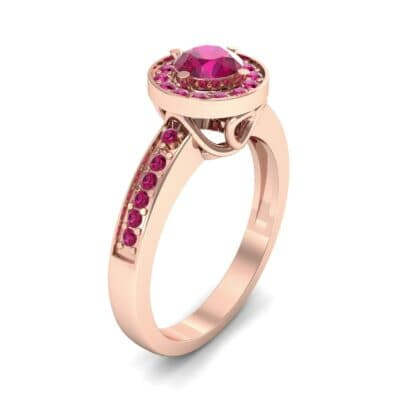 Surprise Heart Halo Ruby Engagement Ring (0.76 CTW)