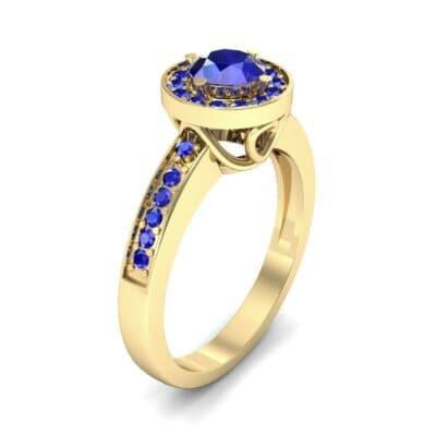 Surprise Heart Halo Blue Sapphire Engagement Ring (0.76 CTW)