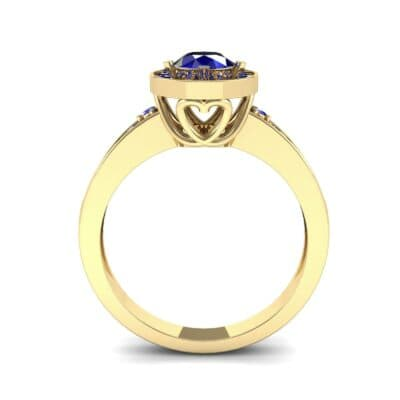 Surprise Heart Halo Blue Sapphire Engagement Ring (0.76 CTW) Side View
