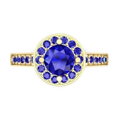 Surprise Heart Halo Blue Sapphire Engagement Ring (0.76 CTW) Top Flat View