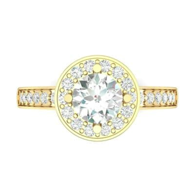 Surprise Heart Halo Diamond Engagement Ring (0.76 CTW) Top Flat View