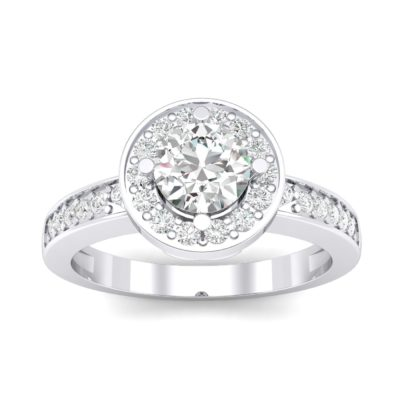 Surprise Heart Halo Crystal Engagement Ring (0.76 Carat)