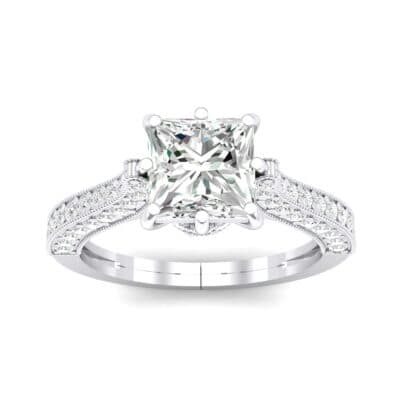 Princess Three-Sided Pave Crystal Engagement Ring (1 Carat)