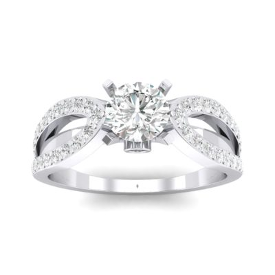 Pave Loop Shank Solitaire Crystal Engagement Ring (1.02 Carat)