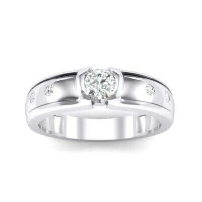 Half-Bezel Crystal Engagement Ring (0.3 Carat)
