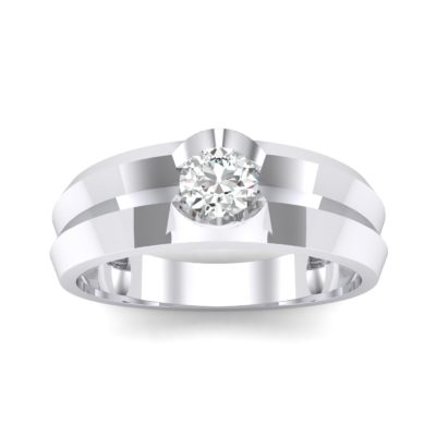 Double Knife Edge Crystal Engagement Ring (0.32 Carat)