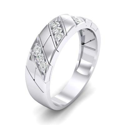 Knife-Edge Pave Milgrain Crystal Ring (0.37 Carat)