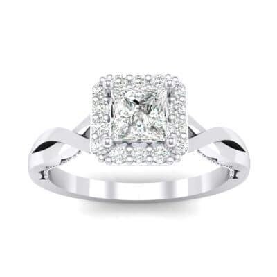 Demilune Cross Shank Halo Crystal Engagement Ring (0.53 Carat)