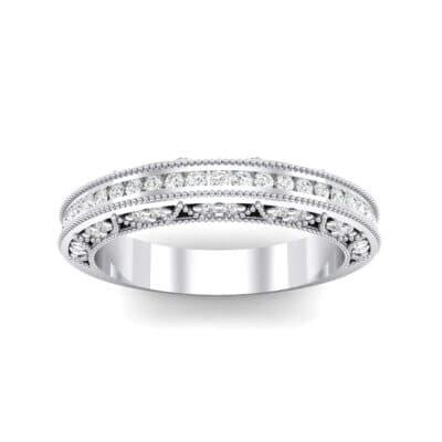 Arc Three-Sided Filigree Crystal Ring (0.53 Carat)