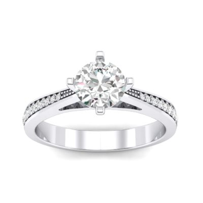 Pave Round-Cut Solitaire Crystal Engagement Ring (0.73 Carat)
