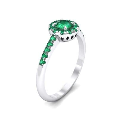 Round Halo Pave Emerald Engagement Ring (0.79 CTW)