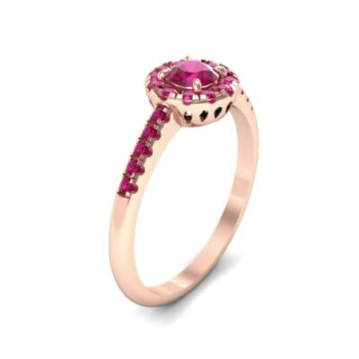 Round Halo Pave Ruby Engagement Ring (0.79 CTW) Perspective View