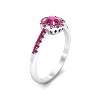 Round Halo Pave Ruby Engagement Ring (0.79 CTW)