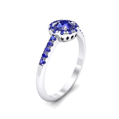 Round Halo Pave Blue Sapphire Engagement Ring (0.79 CTW)