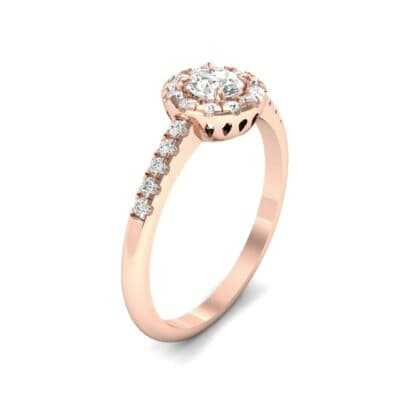 Round Halo Pave Diamond Engagement Ring (0.56 CTW) Perspective View