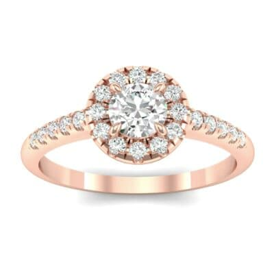 Round Halo Pave Diamond Engagement Ring (0.56 CTW) Top Dynamic View