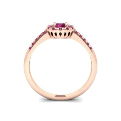 Round Halo Pave Ruby Engagement Ring (0.79 CTW) Side View