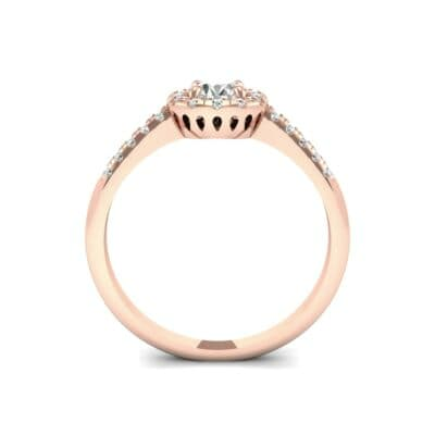 Round Halo Pave Diamond Engagement Ring (0.56 CTW) Side View