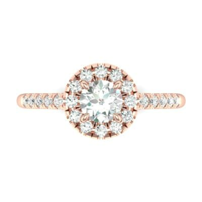 Round Halo Pave Diamond Engagement Ring (0.56 CTW) Top Flat View