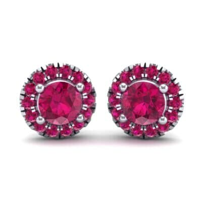 Disc Round Halo Ruby Earrings (1.26 CTW) Perspective View
