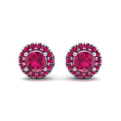 Disc Round Halo Ruby Earrings (1.26 CTW) Side View
