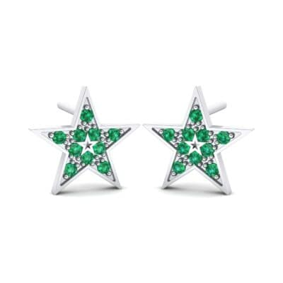 Pave Star Emerald Earrings (0.24 CTW) Perspective View