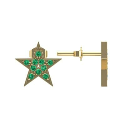 Pave Star Emerald Earrings (0.24 CTW) Top Dynamic View