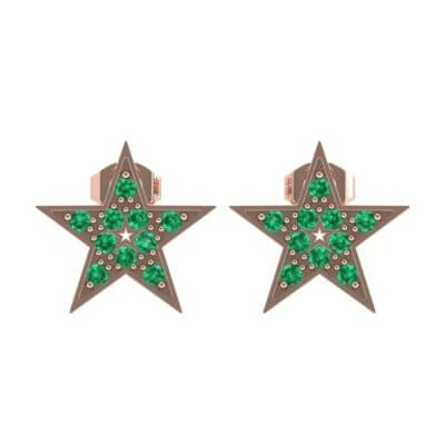 Pave Star Emerald Earrings (0.24 CTW) Side View