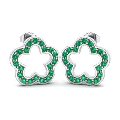Pave Flora Emerald Earrings (0.48 CTW) Perspective View