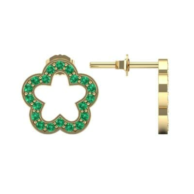Pave Flora Emerald Earrings (0.48 CTW) Top Dynamic View