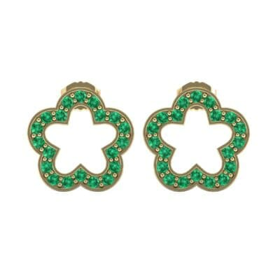 Pave Flora Emerald Earrings (0.48 CTW) Side View