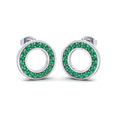 Pave Circle Emerald Earrings (0.19 CTW) Perspective View