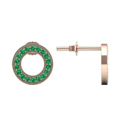 Pave Circle Emerald Earrings (0.19 CTW) Top Dynamic View