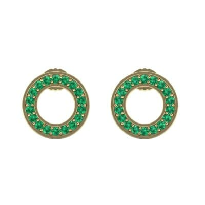 Pave Circle Emerald Earrings (0.19 CTW) Side View