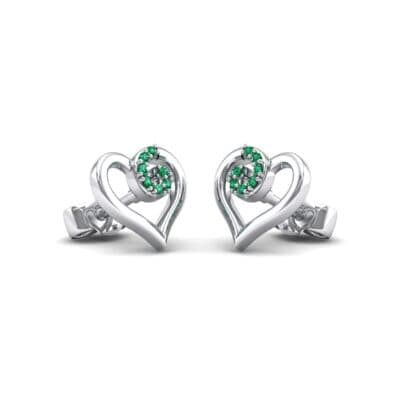 Swirl Heart Emerald Earrings (0.21 CTW) Perspective View