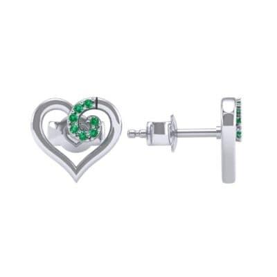 Swirl Heart Emerald Earrings (0.21 CTW) Top Dynamic View