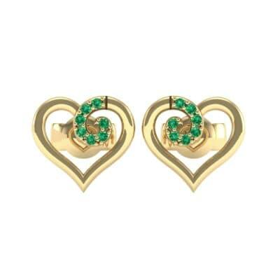 Swirl Heart Emerald Earrings (0.21 CTW) Side View