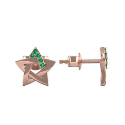Pentagram Emerald Earrings (0.05 CTW) Top Dynamic View